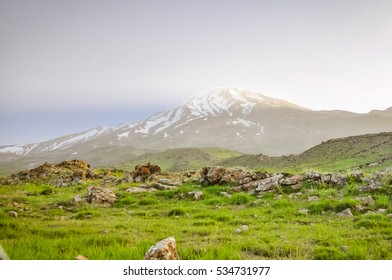 Photo of greenery of fields and Mount Damavand, stratovolcano and highest peak in Iran.