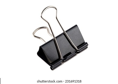 Photo of group black steel paperclips on white background