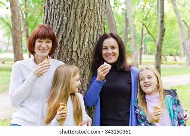 Photo of group laugh people are eating in summer