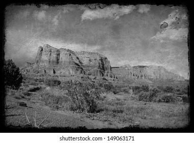 photo grunge Landscape of Cathedral rock at Sedona Arizona
