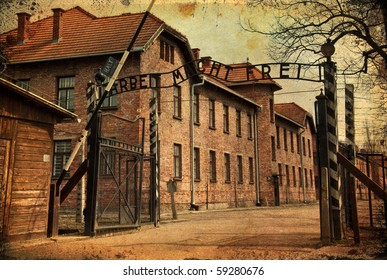 photo grunge main gate entrace into the death camps in poland