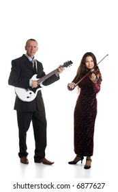 A photo of a guitarist and violinst, isolated on white