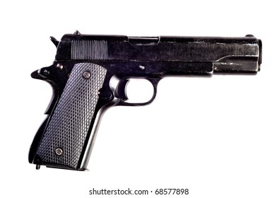 Photo of gun on white background.
