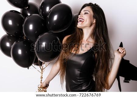 Photo Halloween Party Woman Black Tightfitting Stock Photo Edit Now