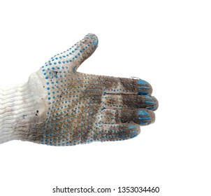 photo of hand in a dirty working white knitted cotton glove pointing direction isolated on white background closeup
