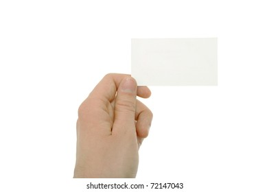 A photo of hand holding blank business card