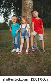 photo of happy children in park