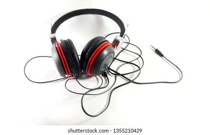 Photo headphones on white background, black music accessory to listen to music
