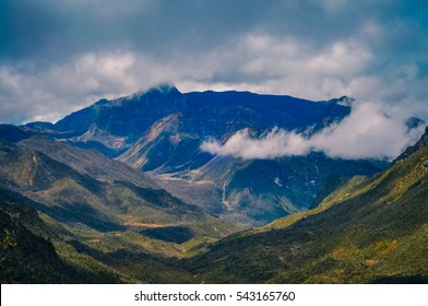Photo of high mountains covered by fog in Trikora, Papua, Indonesia. This is very remote location, rarely visited by people.