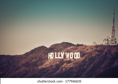 Photo of Hollywood sign in Los Angeles taken at sunset from Griffin Park, CA