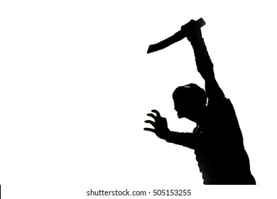 Photo of Horror killer hold knife to stab in silhouette picture