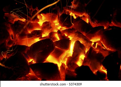 Photo of hot sparking live-coals burning in a barbecue