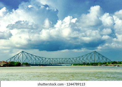 A photo of Howrah bridge located in Kolkata on river ganga mainly known asHoogly river , india.