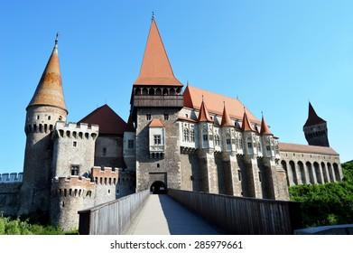 Photo of Huniazilor Castle in Hunedoara Romania in the summer