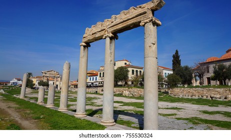 Photo from iconic ancient Roman Forum or Agora next to famous Acropolis hill, Plaka, Athens historic center, Attica, Greece