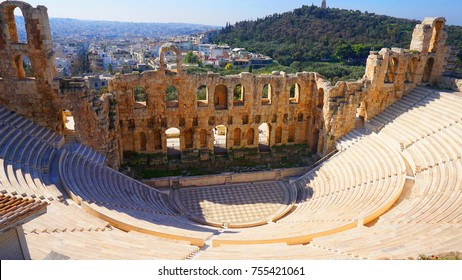 Photo from iconic ancient theater of Herodes Atticus near Acropolis hill, Athens historic center, Attica, Greece