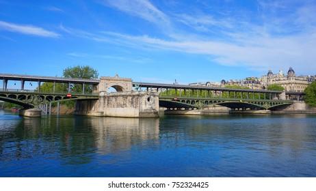 Photo from iconic bridge of Bir-Hakeim as seen in spring, Paris, France
