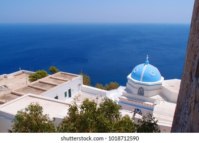Photo from iconic church near castle of Astypalaia with unique traditional character, Dodecanese, Greece