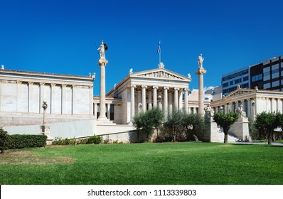 Photo of iconic neoclassic Academy of Athens, Athens historic center in Attica, Greece