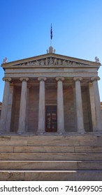 Photo of iconic neoclassic Academy of Athens, Athens historic center, Attica, Greece