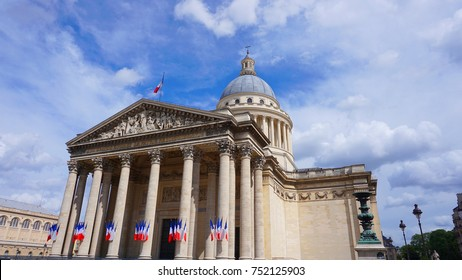 Photo from iconic Pantheon in Latin quarter of Paris with beautiful scattered clouds, France