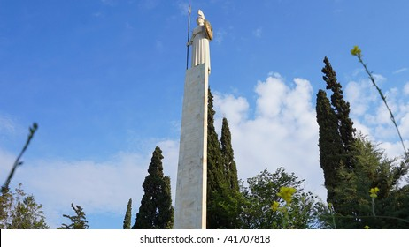 Photo of iconic statue of Athina in Field of Ares, Athens historic center, Attica, Greece