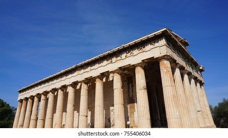 Photo from iconic Temple of Hephaestus one of the best preserved temples in Greece, Ancient Agora, Athens historic center, Attica, Greece