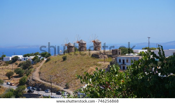 Photo of iconic windmill in a Greek Dodecanses island