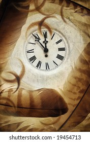 Photo illustration with ancient clock and feathers