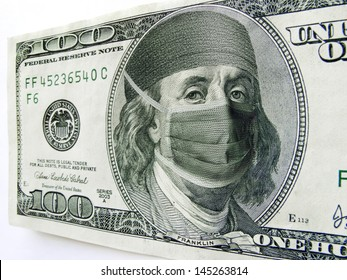 Photo illustration of Ben Franklin wearing a health care mask and bonnet on a one hundred dollar bill. Might illustrate the high cost of health care, Affordable Health Care Act or health insurance.
