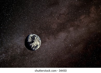 Photo illustration of the Earth against the backdrop of an arm of the Milky Way galaxy.