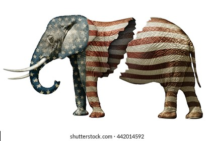 Photo illustration of a flag adorned elephant, split in two to represent the fracturing of the Republican party.