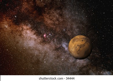 Photo illustration of Mars against the backdrop of the Milky Way galaxy. Created by combining two photographs on the computer.