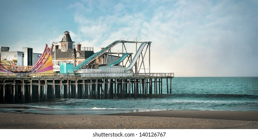 Photo Illustration of Seaside Heights NJ Amusement Park. This original roller coaster no longer exists due to Hurricane Sandy