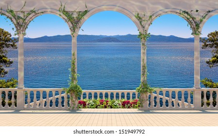 Photo illustration of terrace with colonnade overlooking the sea and mountains