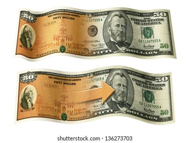Photo Illustration of a U.S. Savings Bond and a 50 dollar bill composited together.