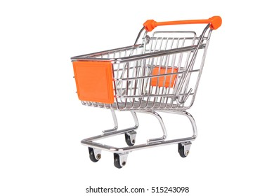 Photo image of a shopping trolley isolated on white