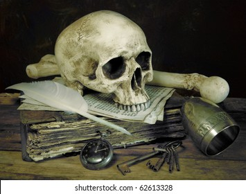 Photo impression of the old master painting ?vanitas? with antique skull