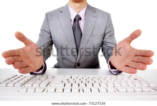 Photo of inviting businessman sitting at the table