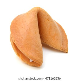 Photo of an isolated fortune cookie on a white background.