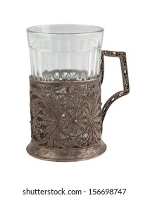 photo of isolated old bronze  glass-holder with glass