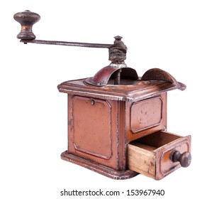 photo of isolated old-style coffee mill