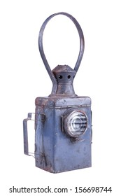 photo of isolated old-style lantern,  used for signals on railroads
