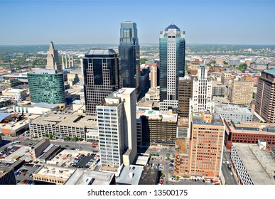 A photo of Kansas City taken from the top floor of City Hall.