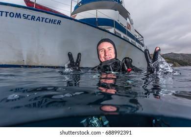 Photo of Kenny Hanson off the shore of Catalina Island, California. July 1, 2017