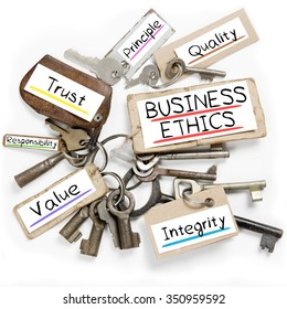 Photo of key bunch and paper tags with BUSINESS ETHICS conceptual words
