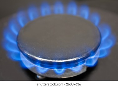 photo of the kitchen gas oven with blue flame