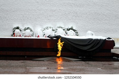 Photo landscape of eternal flame at the Kremlin wall in Moscow in winter