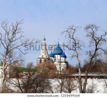 Photo landscape Suzdal Kremlin Christmas Cathedral in the background with trees in winter