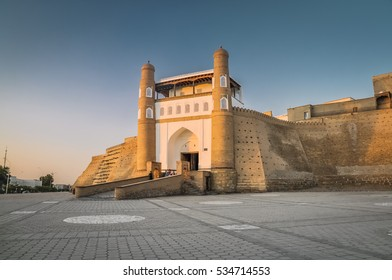 Photo of large ark of Bukhara, massive fortress located in the city of Bukhara in Uzbekistan.